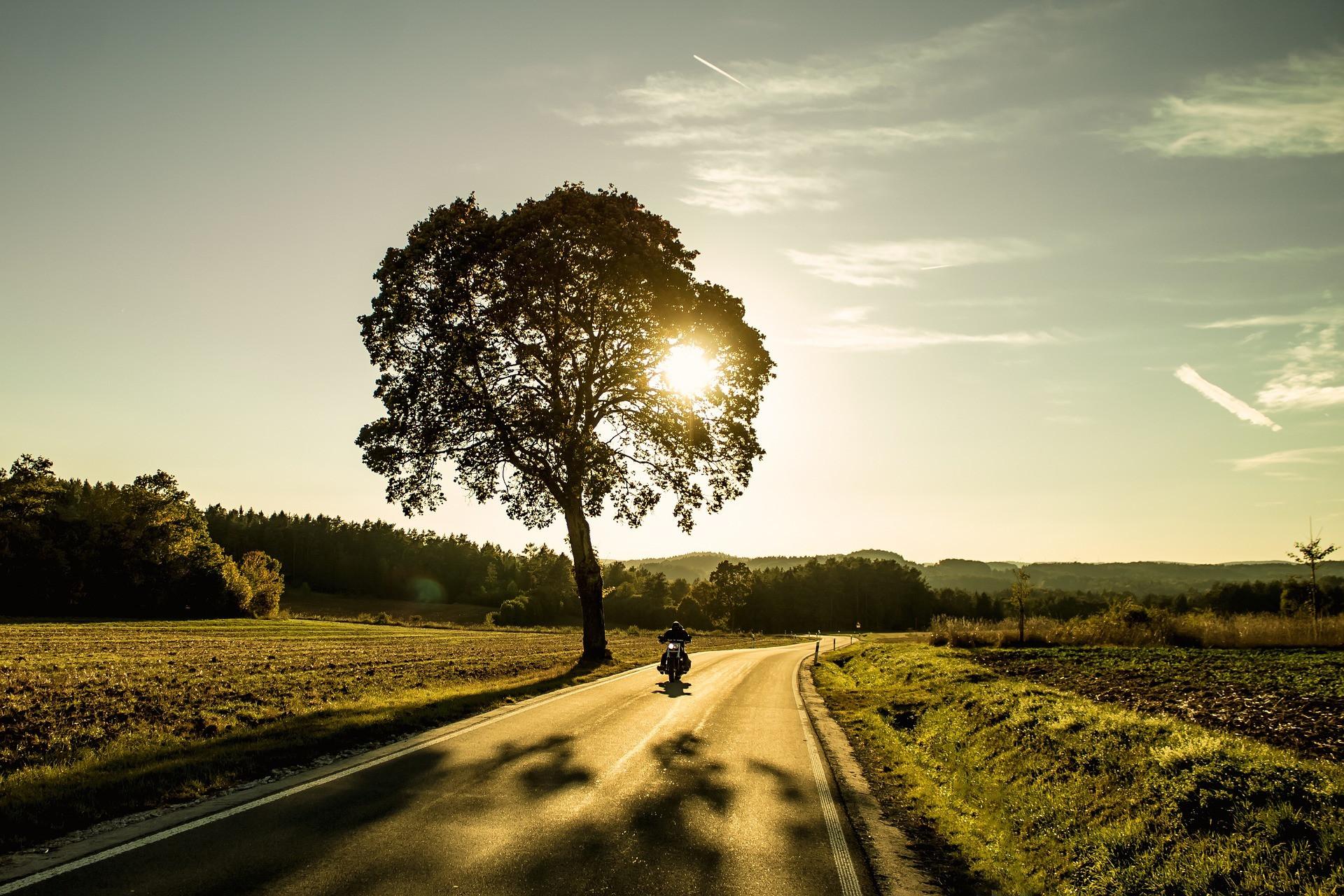 motocykl, zachód słońca, assistance na motocykl